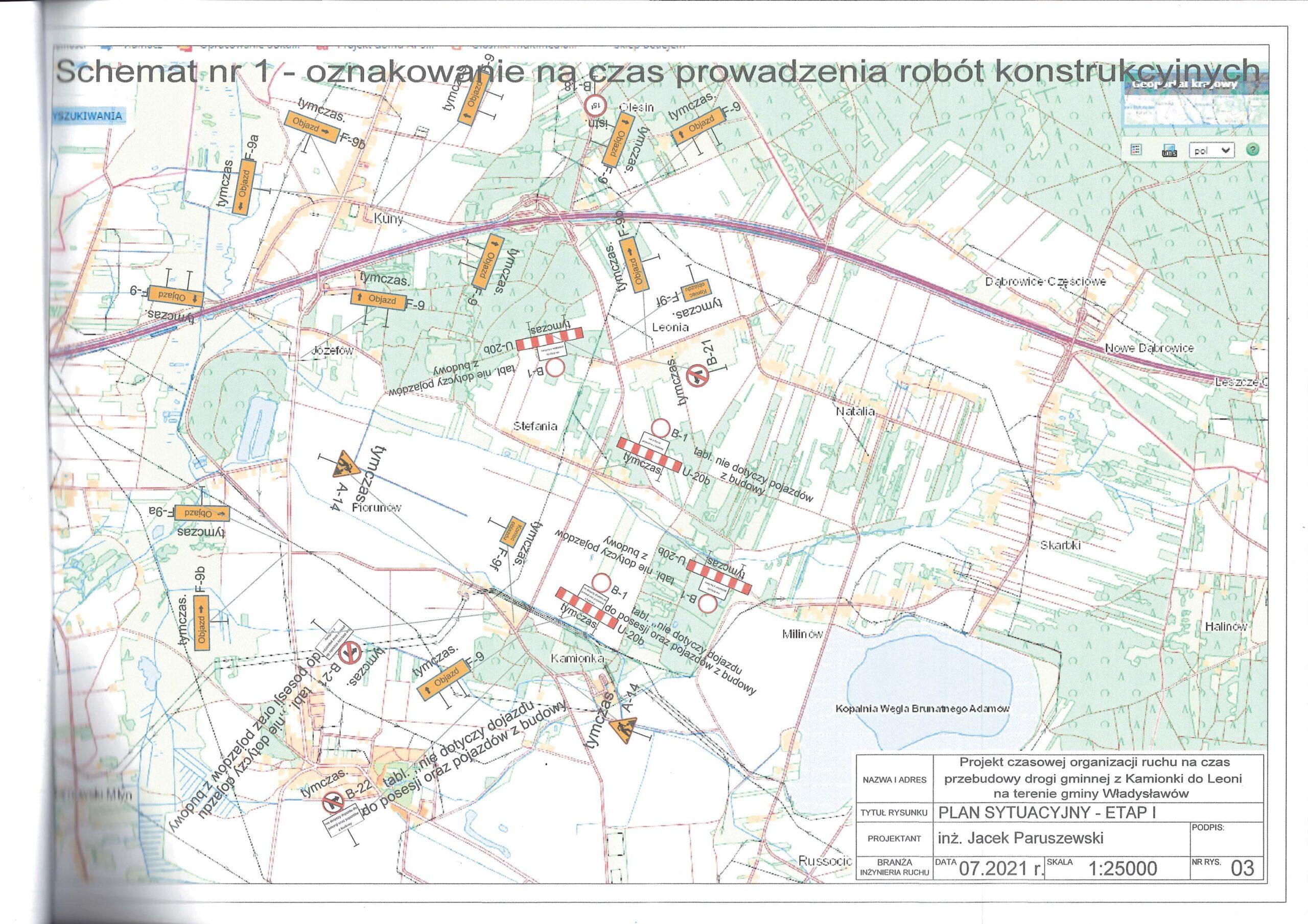 Mapa czasowej organizacji ruchu dla drogi gminnej  relacji Leonia - Stefania - Kamionka