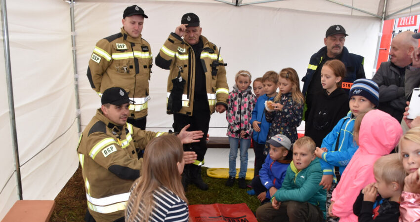 Na zdjęciu: Pokaz udzielania pierwszej pomocy przez Strażaków-Ochotników z OSP Władysławów - Festyn Rodzinny w Skarbkach